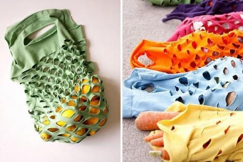 10 Fabulous DIY Ways to Recycle Old Tees t shirt Produce Bag tutorial e1428814349138