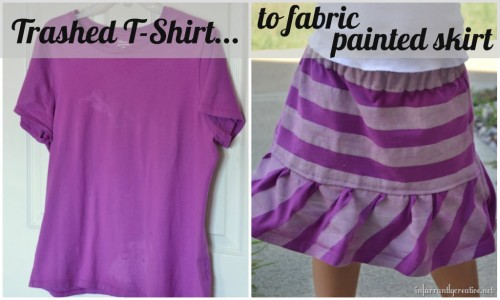 10 Fabulous DIY Ways to Recycle Old Tees t shirt into skirt tutorial e1428811452900