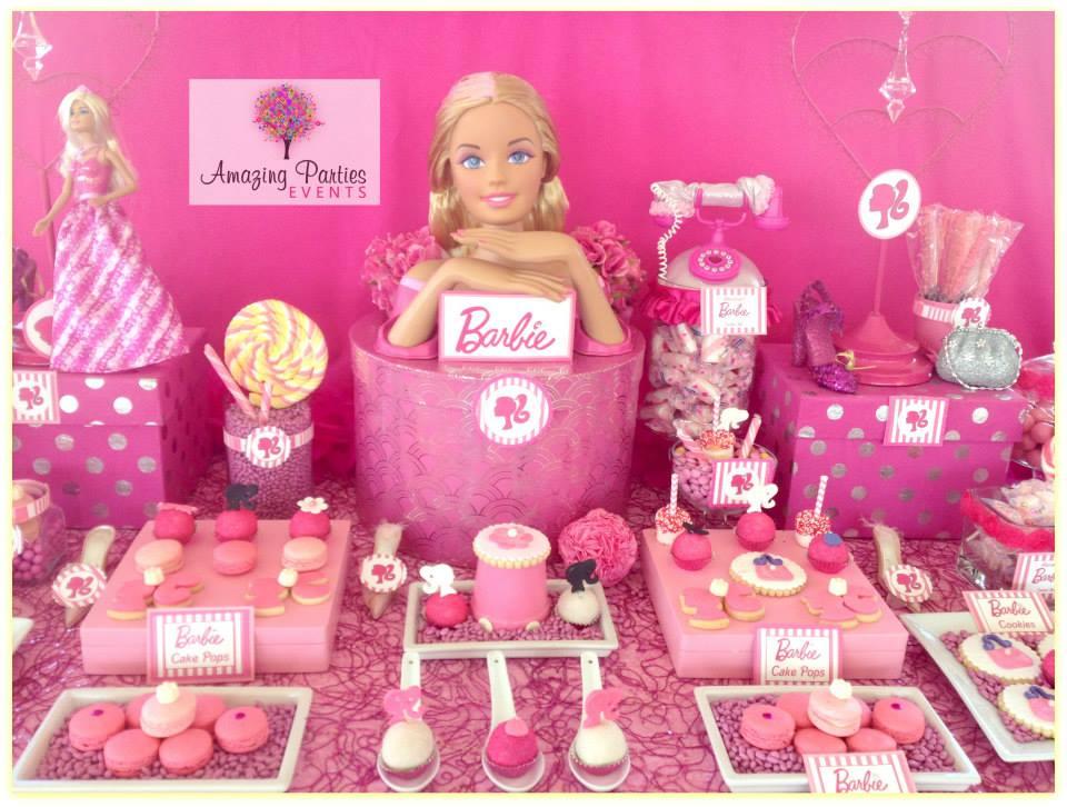 Barbie party ideas dessert table