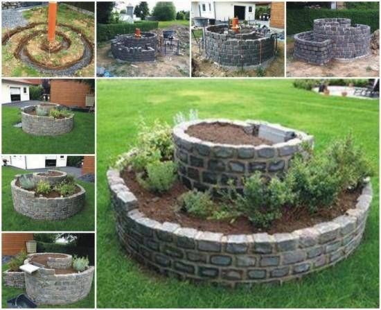 Build a Brick Spiral Herb Garden wonderfuldiy