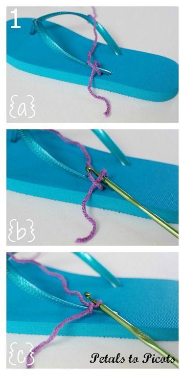 DIY Crochet Flip Flop Makeover