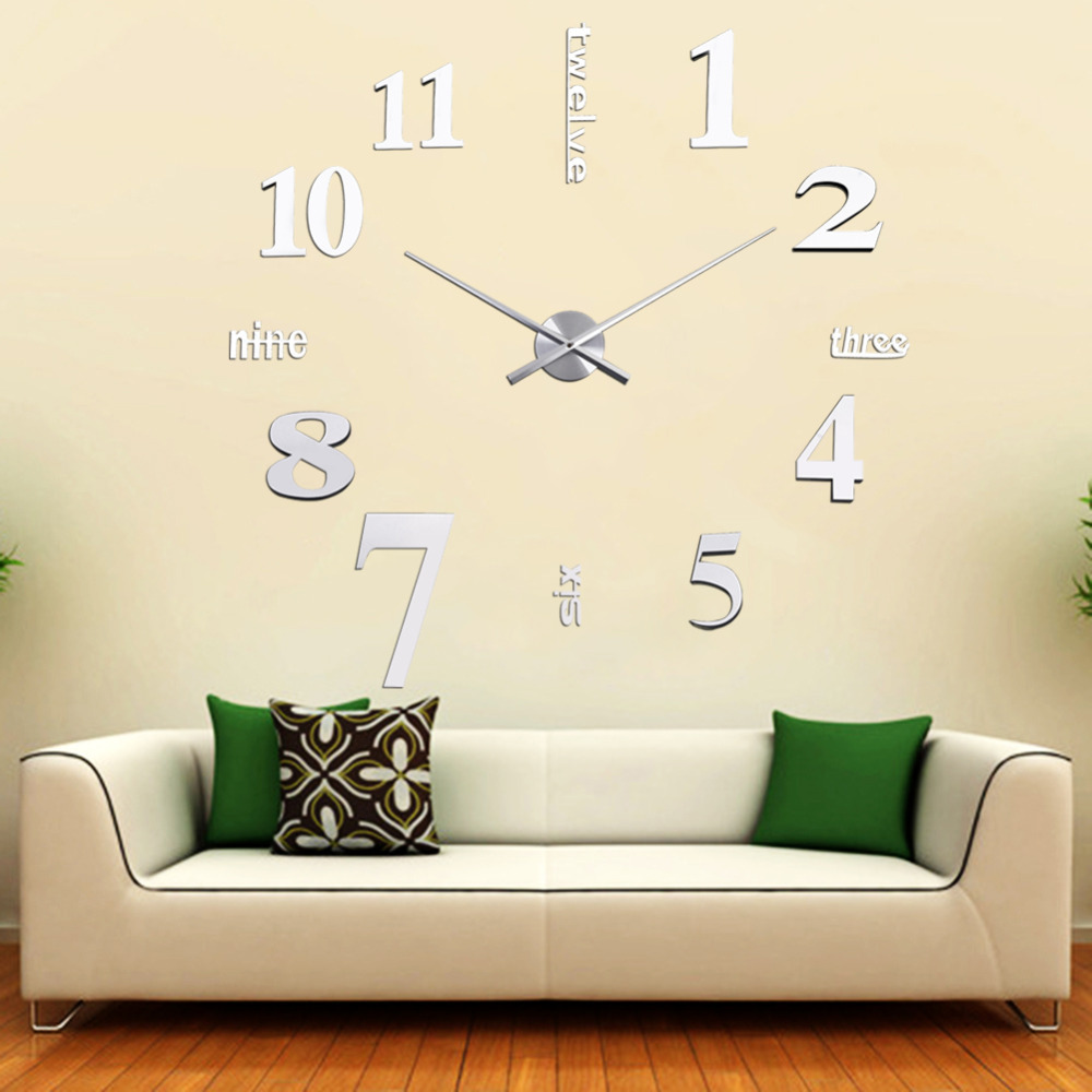 DIY 3D Wall Clocks Mirror