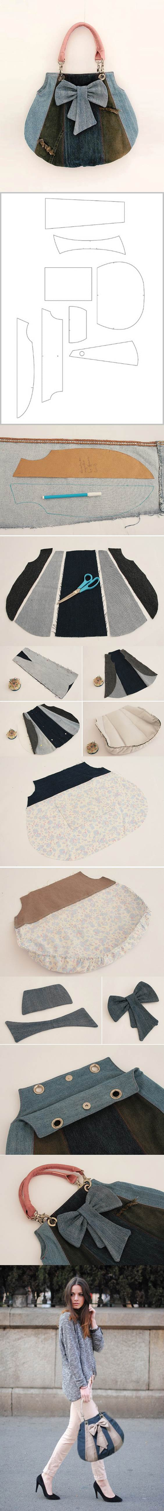 DIY Fashionable Handbag from Old Jeans