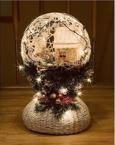 DIY Festive String Ball Basket4