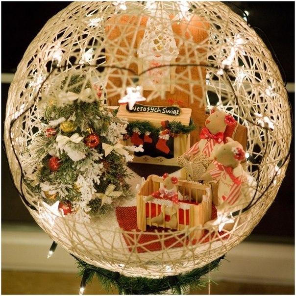 DIY Festive String Ball Basket5
