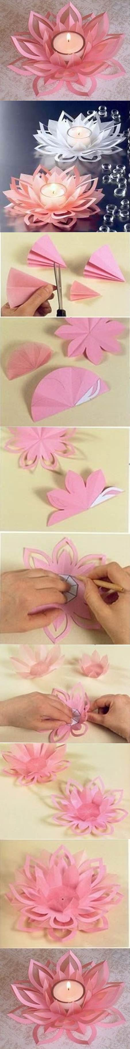 DIY Beautiful Lotus Candlestick