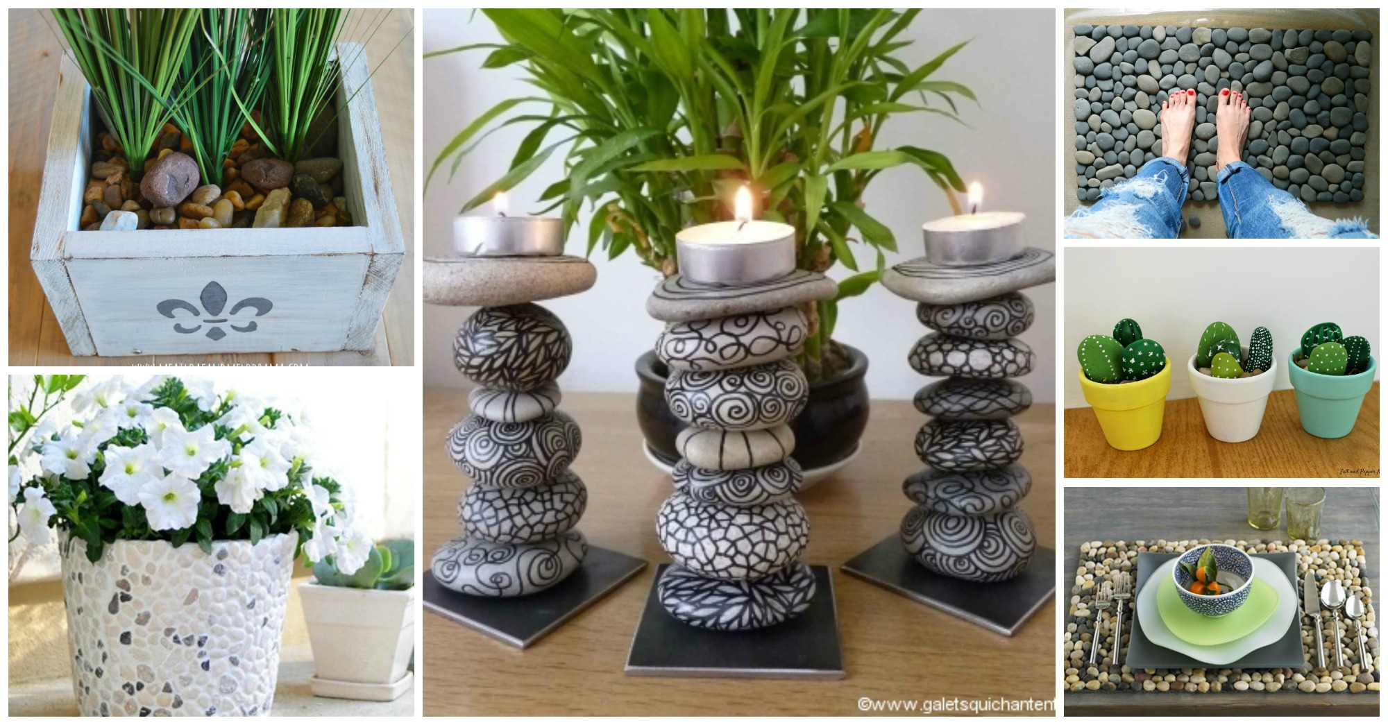 20 diy decorations to make with pebbles for Home decor centerpieces