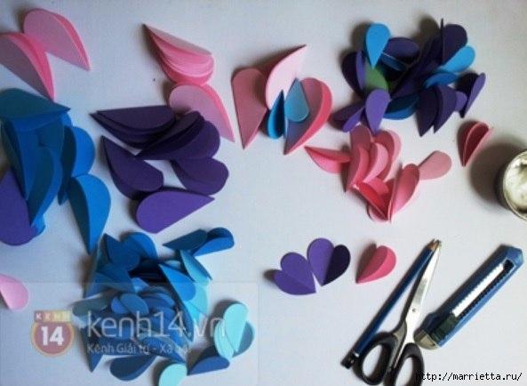Easy paper heart flower wall art06