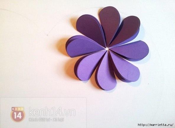Easy paper heart flower wall art07