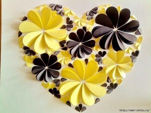 Easy paper heart flower wall art09
