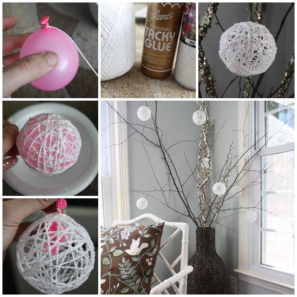 Glittery Snowballs christmas ornament diy F2