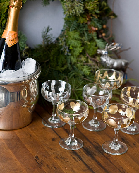 Gold and Silver Leaf Champagne Glasses