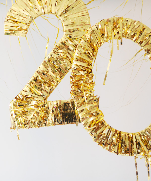 Gold fringe wrapped numbers