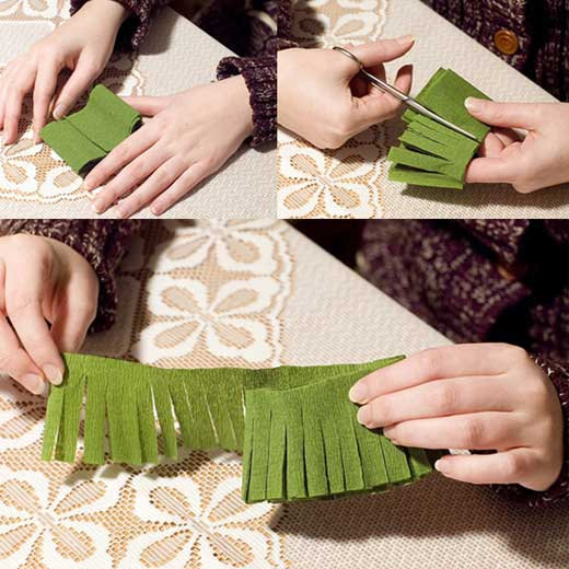 How to DIY Mini Crepe Paper Christmas Tree2