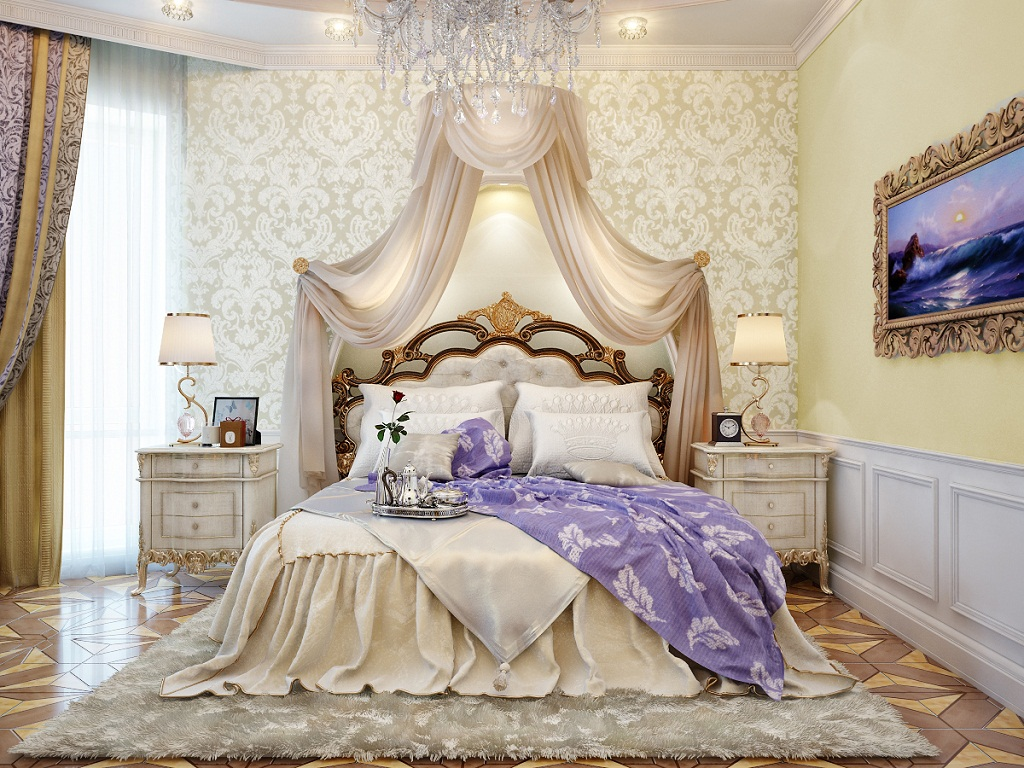 Luxurious Electic Victorian Style Master Bedroom With Beautiful White Shade