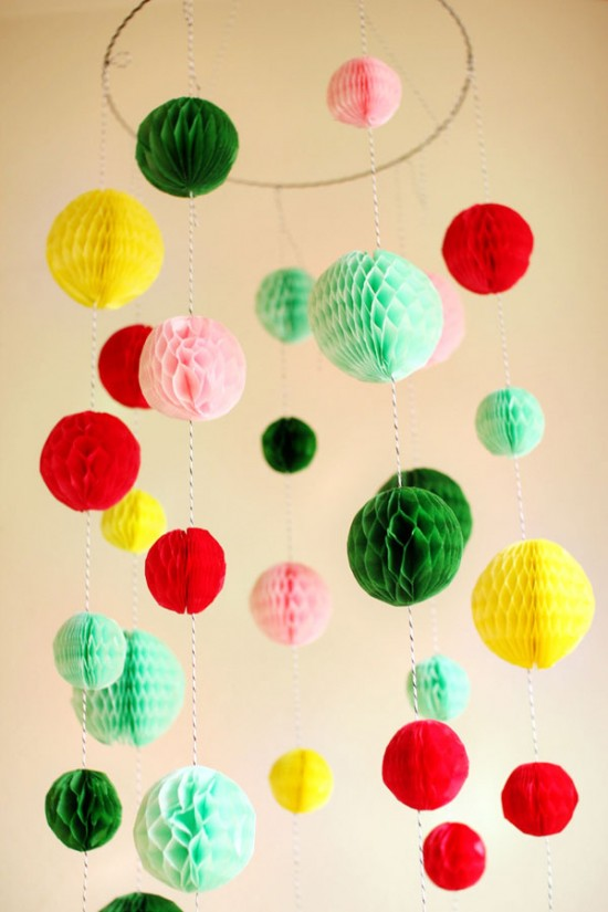 Make a colorful chandelier out of paper