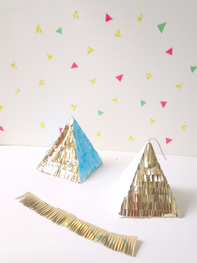 Make some flashy pyramid ornaments