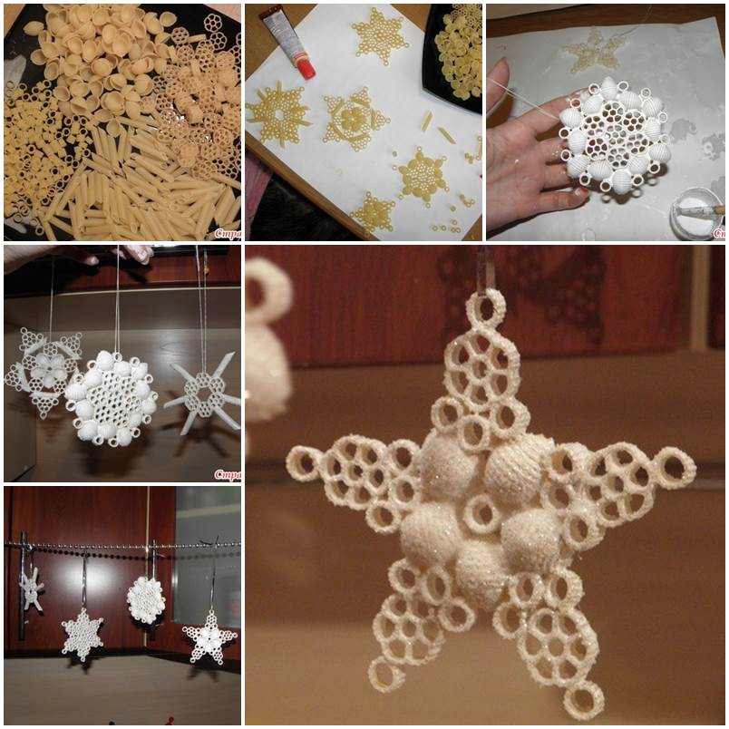 Pasta Snowflake Ornaments DIY F