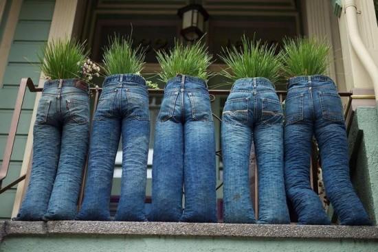 DIY Fun Recycled Jean Planter