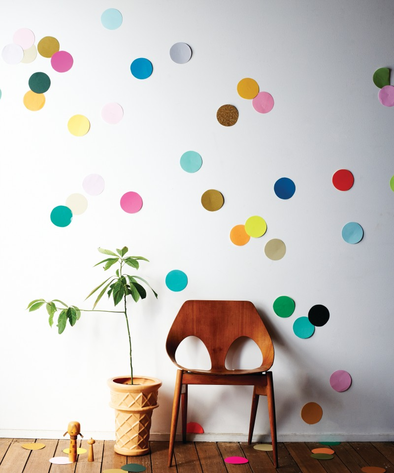 Tape giant confetti to your walls