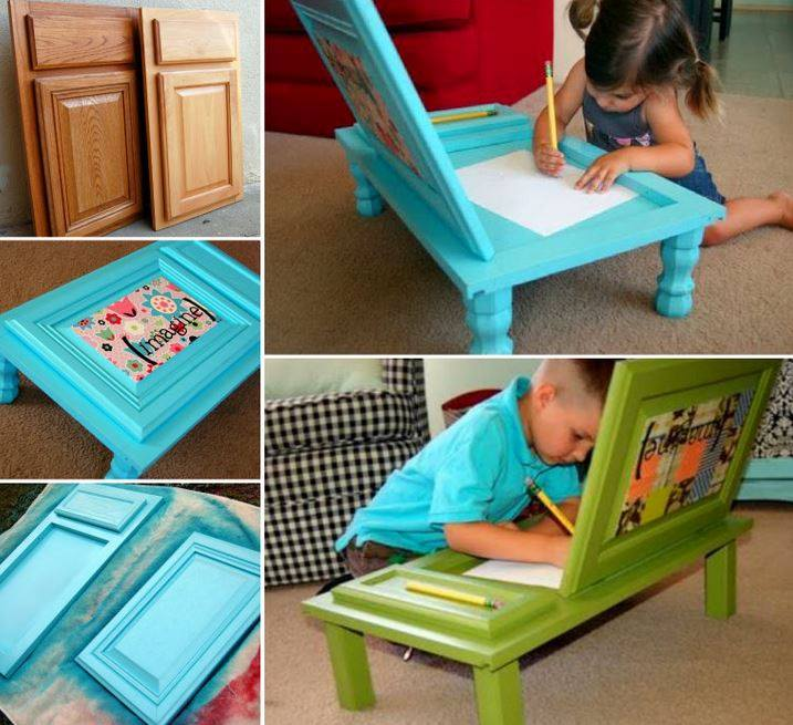 Transform an old Cupboard Door into a fabulous and practical Desk for the kids