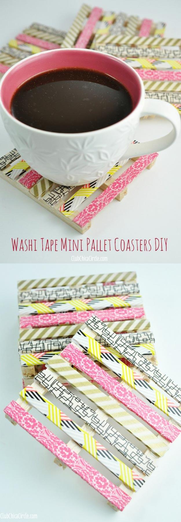 Washi Tape Mini Wood Pallet Coasters