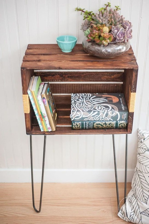 Wood Crate Console Table and Shelf