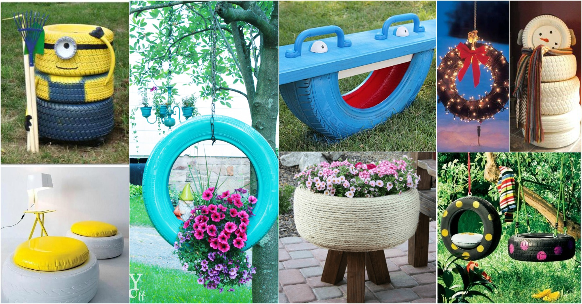 15 diy amazing old tire reuse ideas for Homemade garden decor crafts