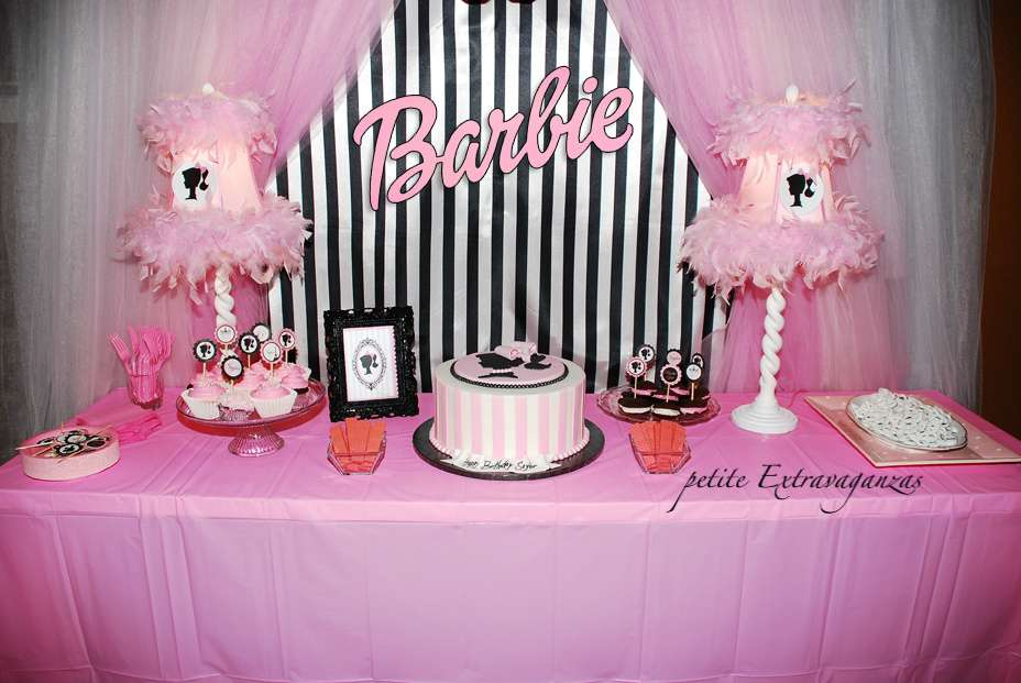 barbie party tablesetting