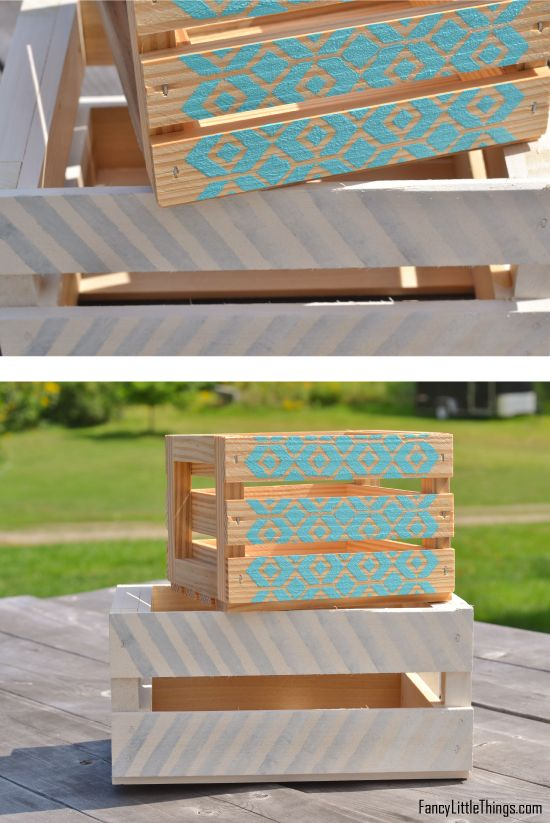 15+ Lovely  DIY Colored Wooden Crates