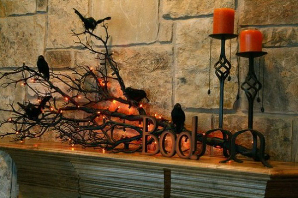 cool halloween decoration for fireplace ideas