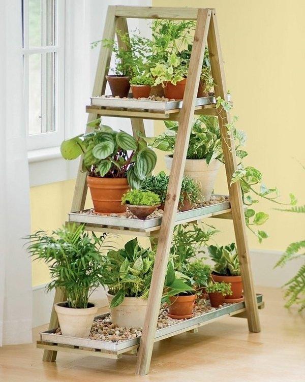 creative upcycling ideas wooden ladder shelf flower pots DIY vertical garden