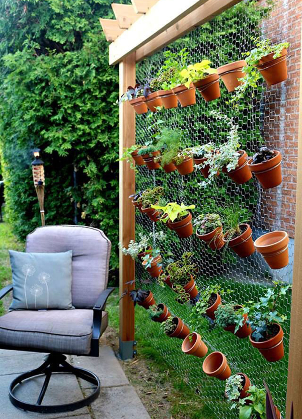 creative vertical garden in backyard