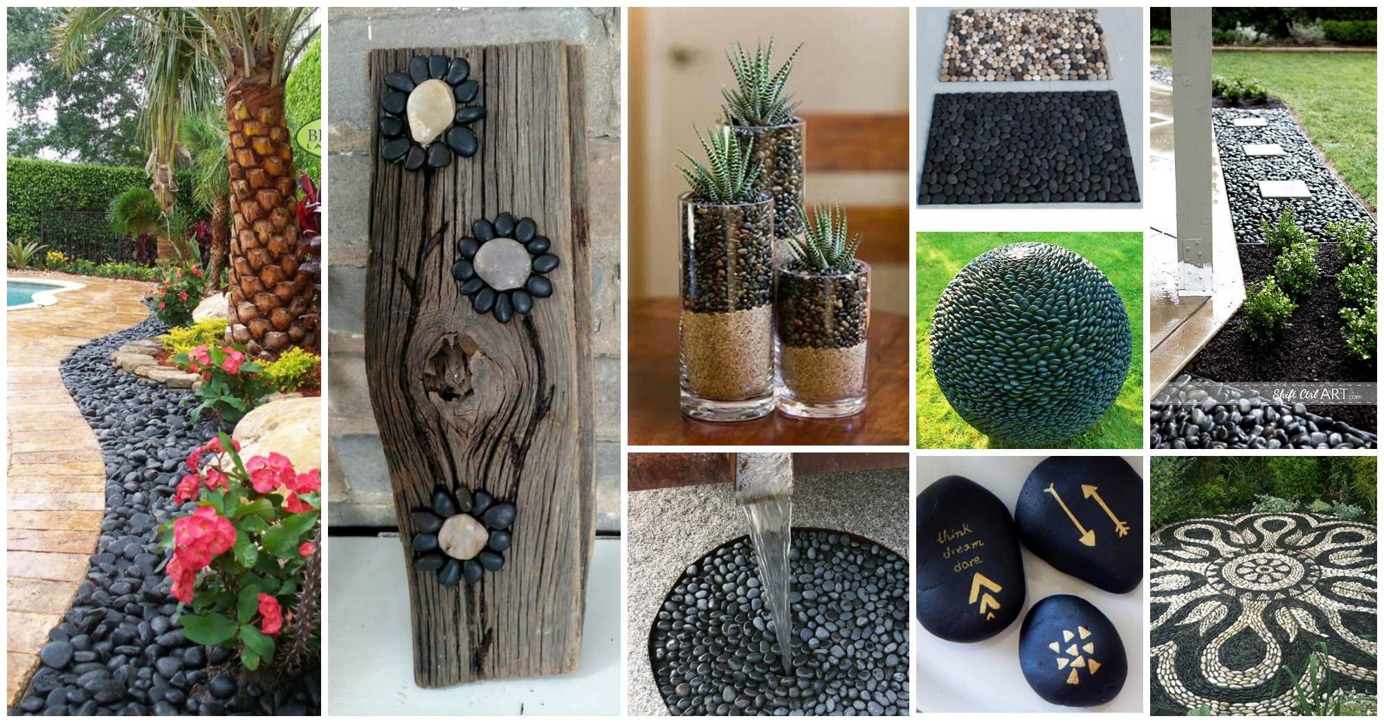 15 Superb Black Pebbles Decor Ideas