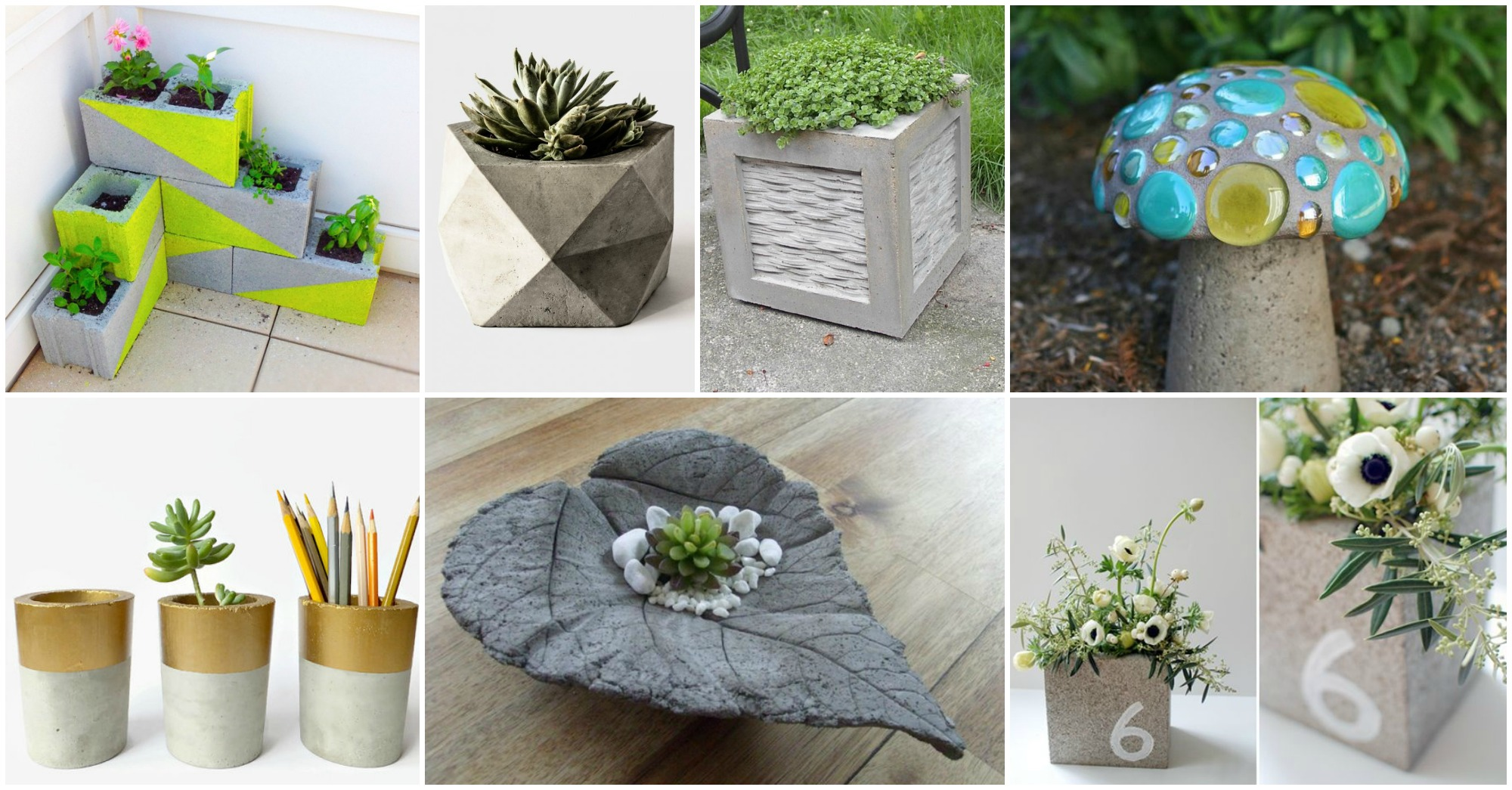 15 diy concrete decor ideas for Homemade garden decor crafts