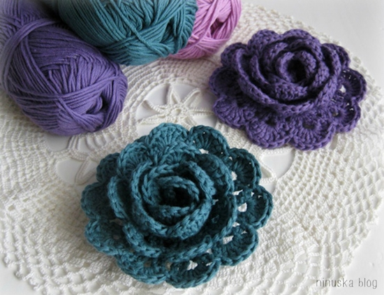 How to Crochet Pretty 3D Lace Rose (VIDEO+PATTERN)