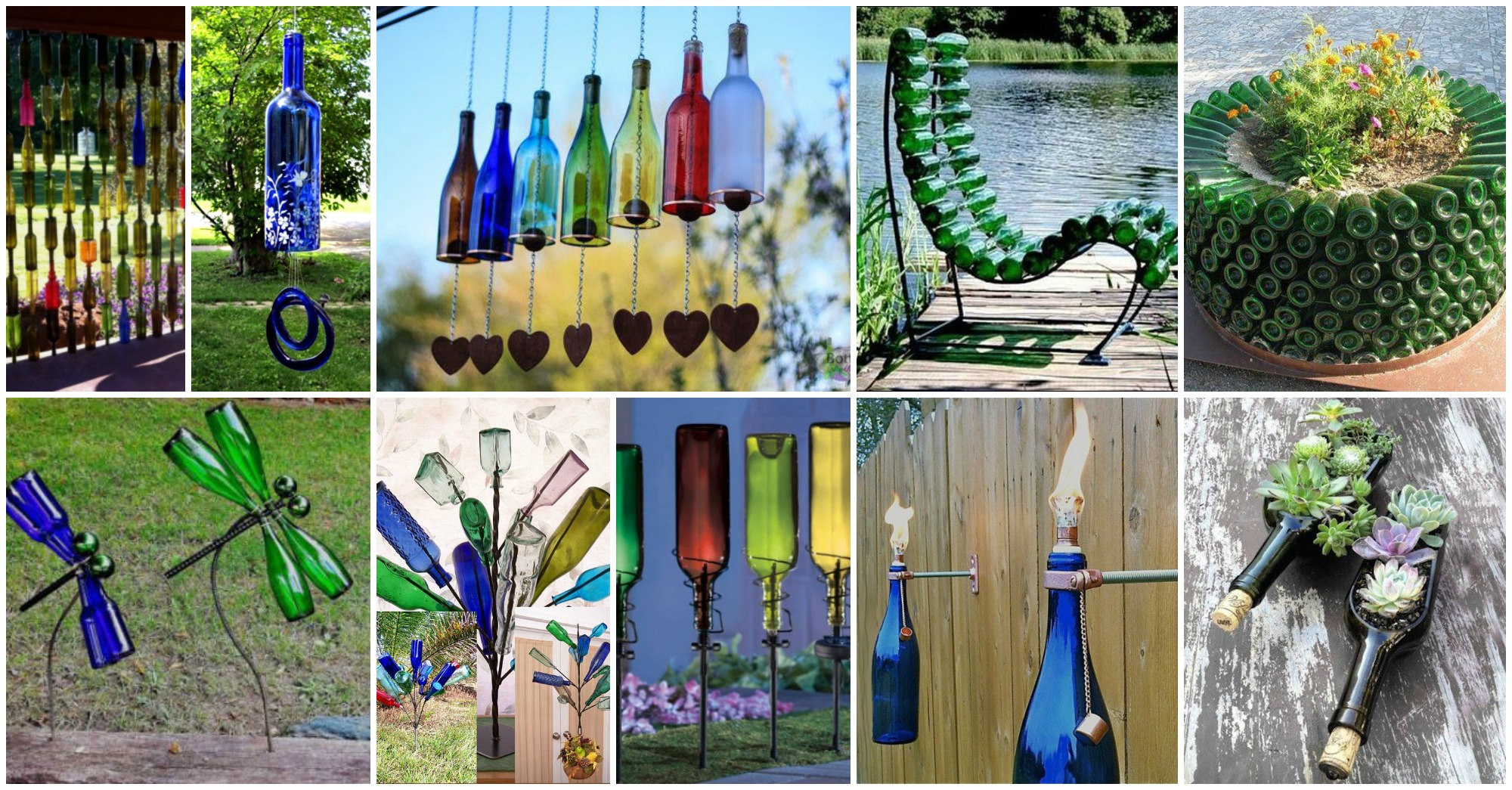 12 diy glass bottles garden decor for Landscape decor