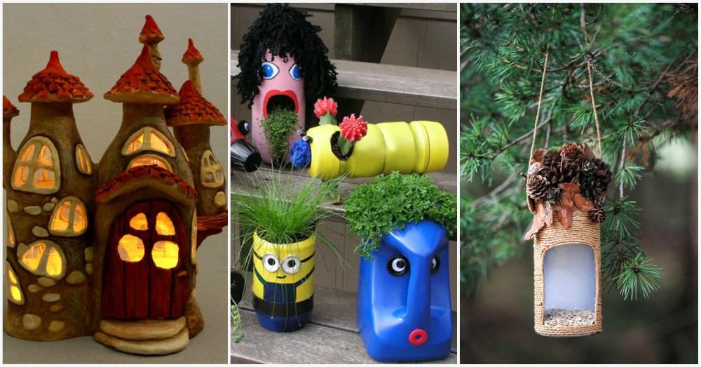 Diy plastic bottle decor to make your garden a fun place for Plastic bottle decoration images