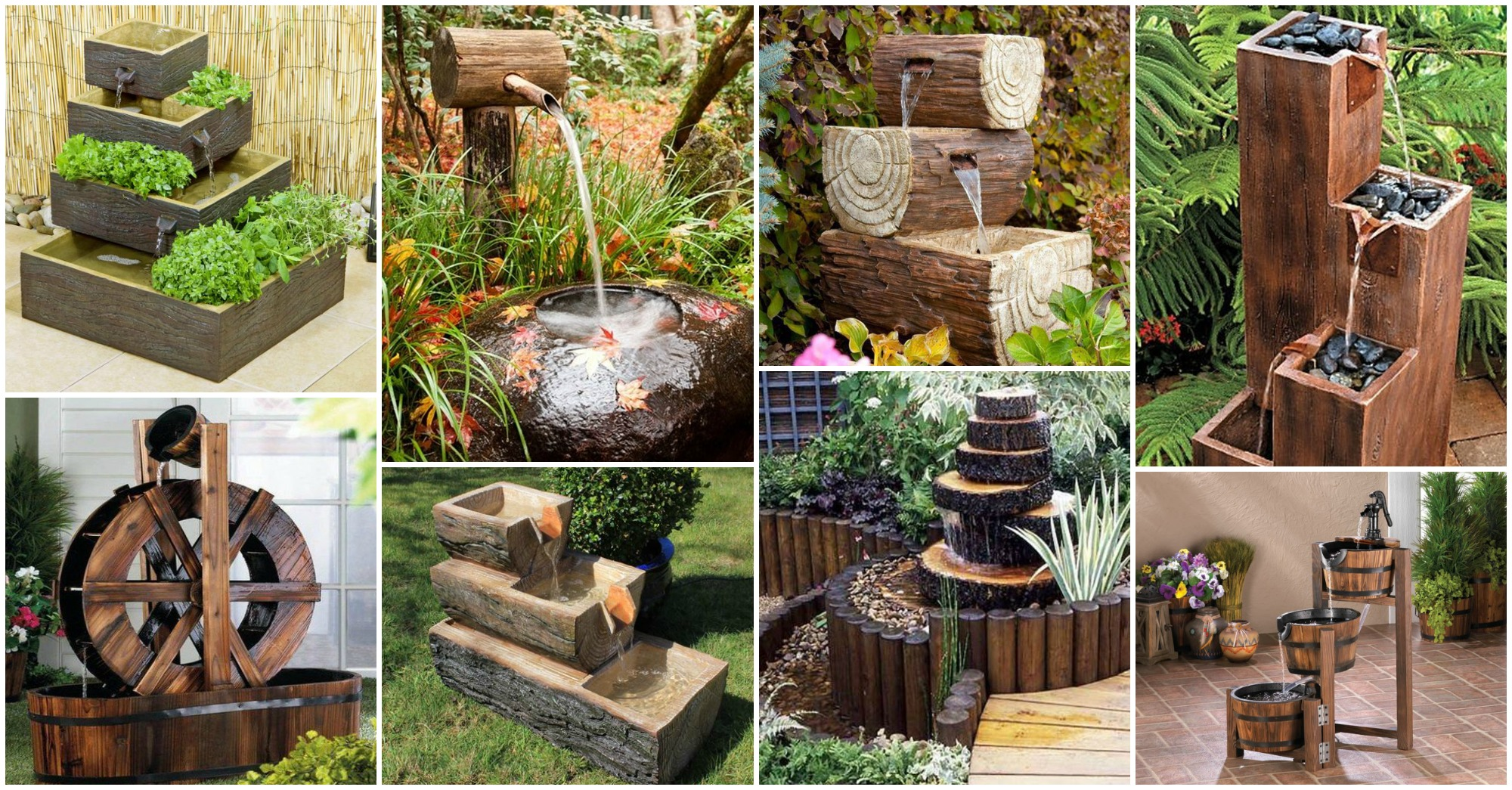 15 Fantastic Wooden Garden Fountains