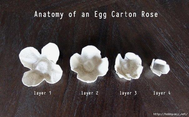 DIY Egg Carton Rose Mirror Decoration
