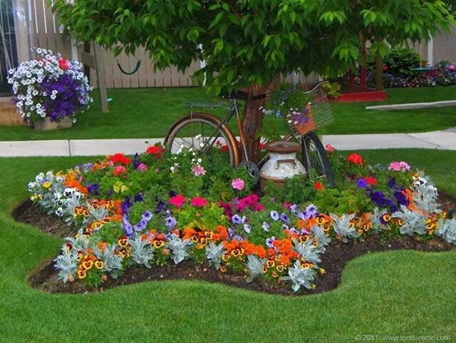 flower beds around tree 1
