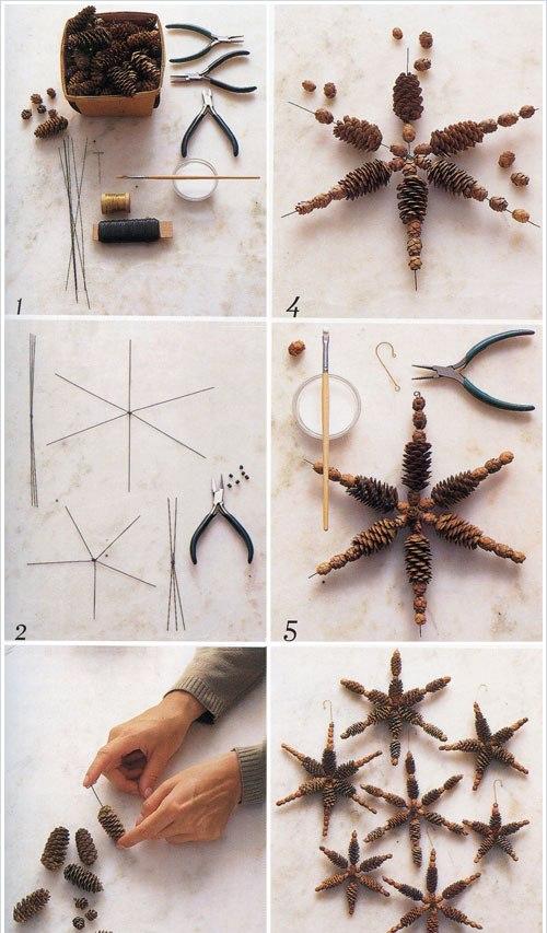 handmade christmas ornaments pinecones stars craft idea
