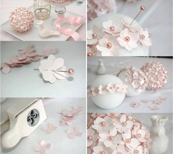 homemade christmas tree ornaments paper flowers pins foam ball