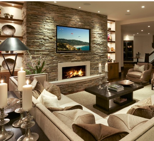 15+ Amazing Living Room Interiors With Stone Walls