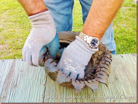how to cut a tire for a planter