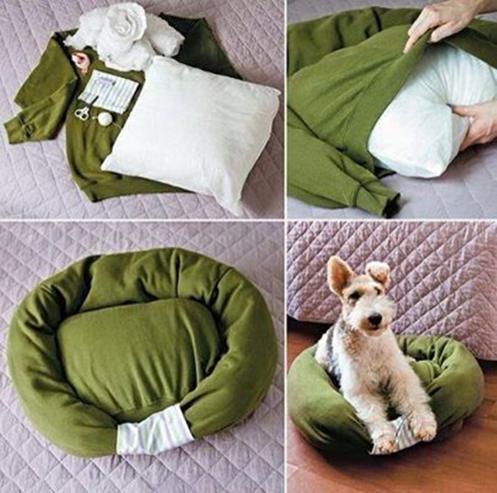 DIY Pet Bed From Old Shirt & Sweater