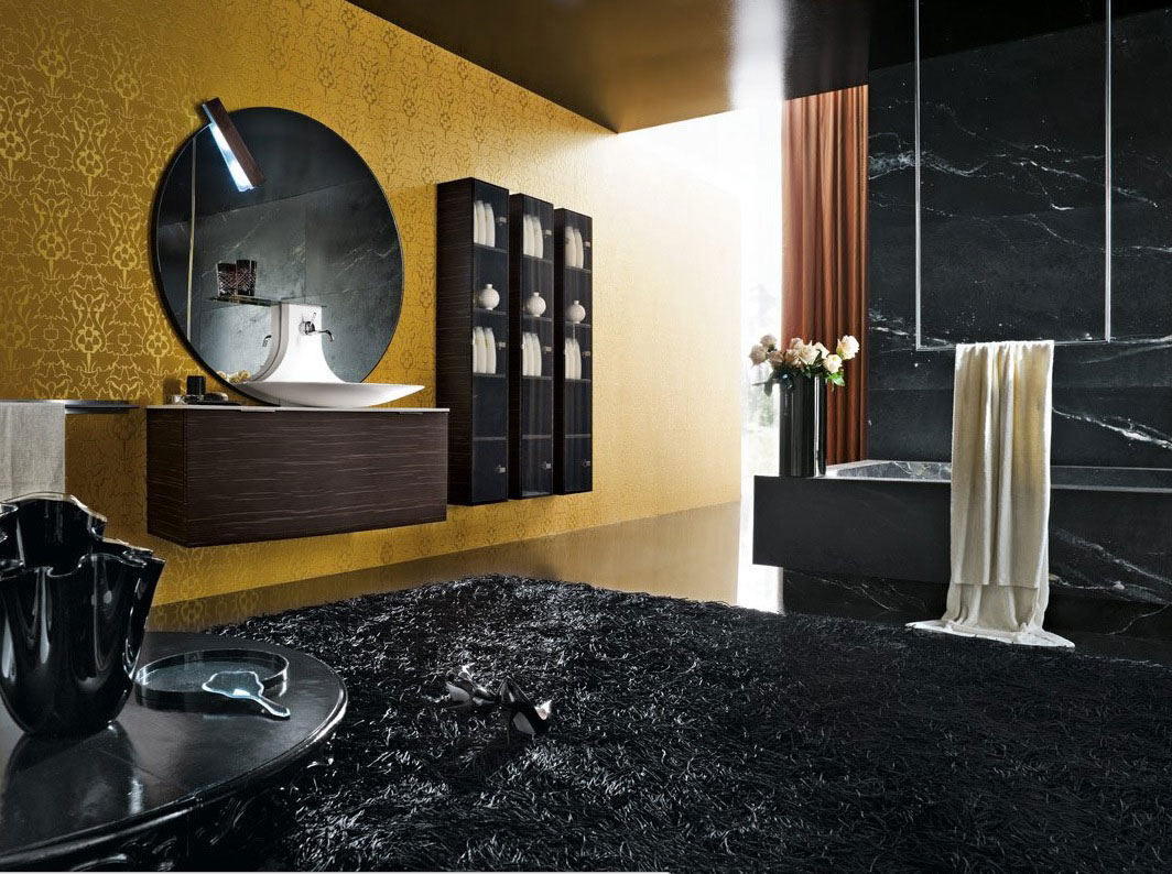 unique black bathroom with creative gold wall decor